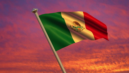 Looping Mexican Flag animation with sky background