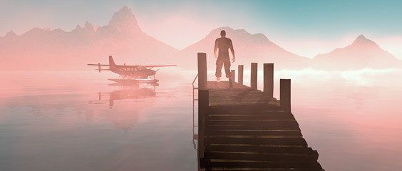 Man walking on pier at lake with floating airplane. Misty sunris