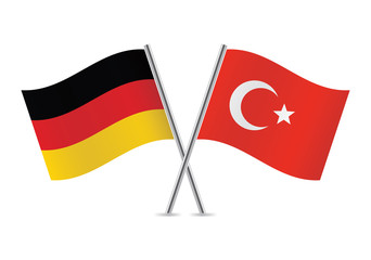 German and Turkish flags. Vector illustration.
