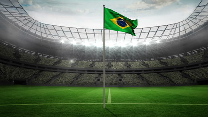 Brazil national flag waving on flagpole