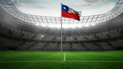 Chile national flag waving on flagpole