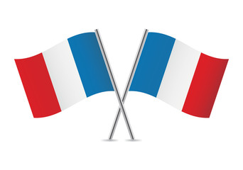 French flags. Vector illustration.