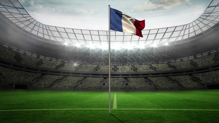 France national flag waving on flagpole