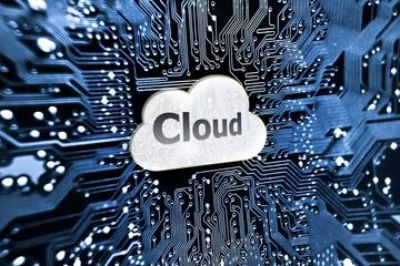 symbol of cloud on computer circuit board - cloud computing
