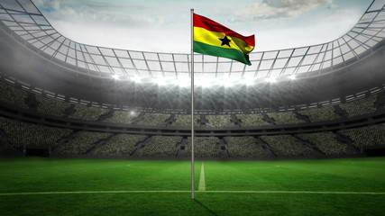 Ghana national flag waving on flagpole