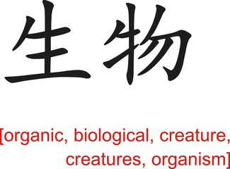 Chinese Sign for organic,biological,creature,creatures,organism