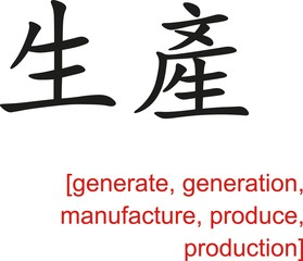 Chinese Sign for generate, generation, manufacture, produce