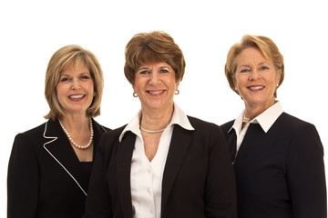 Three Women in Business Attire, Smiling