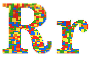 Letter R built from toy bricks in random colors