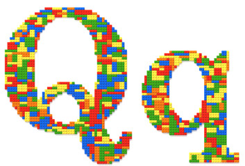Letter Q built from toy bricks in random colors