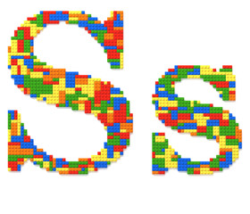 Letter S built from toy bricks in random colors