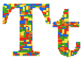 Letter T built from toy bricks in random colors