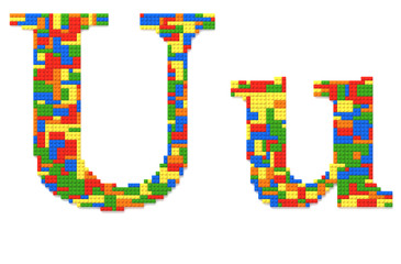 Letter U built from toy bricks in random colors
