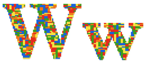 Letter W built from toy bricks in random colors