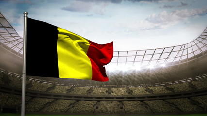 Belgium national flag waving on stadium arena