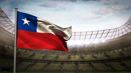 Chile national flag waving on stadium arena