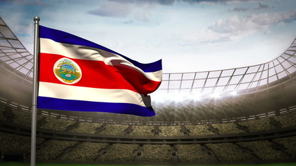 Costa Rica national flag waving on stadium arena