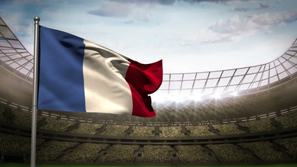France national flag waving on stadium arena