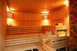 interior of modern wooden sauna