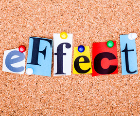 The word EFFECT on a bulletin board