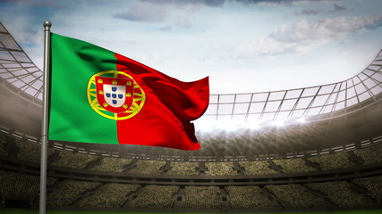 Portugal national flag waving on stadium arena