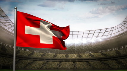 Switzerland national flag waving on stadium arena