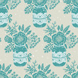 Vintage seamless pattern with a bouquet of flowers