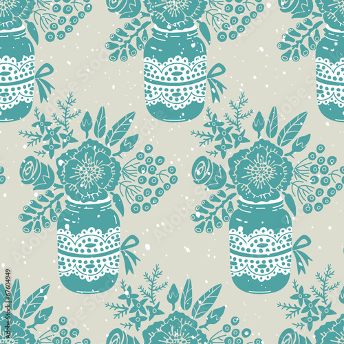 Keuken foto achterwand Vlinders in Grunge Vintage seamless pattern with a bouquet of flowers