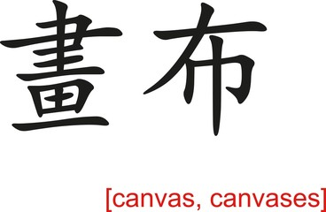 Chinese Sign for canvas, canvases