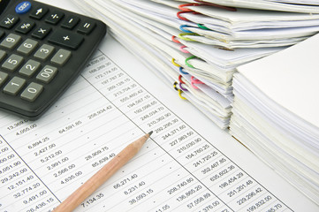 Stack of sales and receipt on finance account