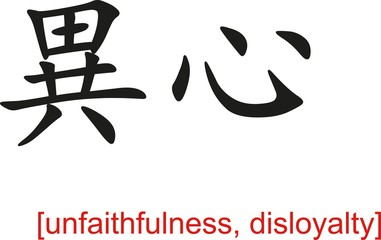 Chinese Sign for unfaithfulness, disloyalty