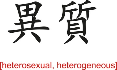 Chinese Sign for heterosexual, heterogeneous