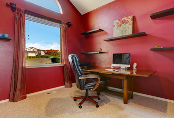 Bright red office room interior