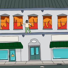 Man Escaping Fire