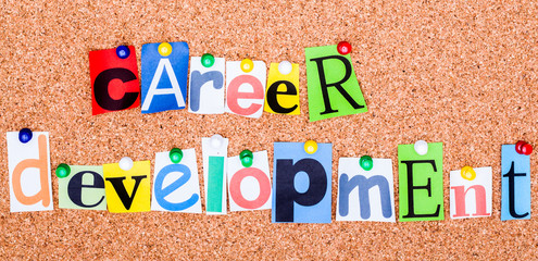 The word CAREER DEVELOPMENT on a bulletin board