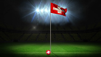 Switzerland national flag waving on flagpole