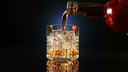 Bottle pours whiskey into a glass with ice cubes