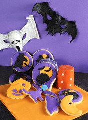 Happy Halloween party trick or treat purple and orange cookies