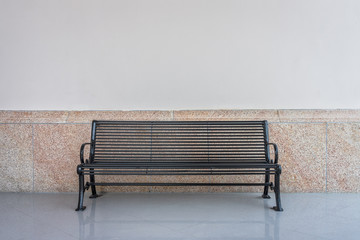 Black iron bench in vintage design