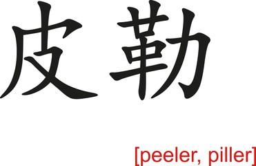 Chinese Sign for peeler, piller