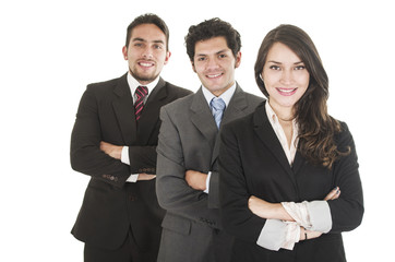 three executives posing isolated on white