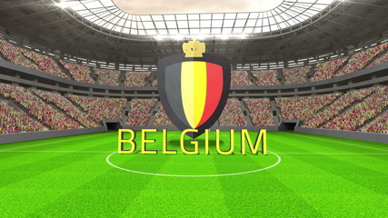 Belgium world cup message with badge and text