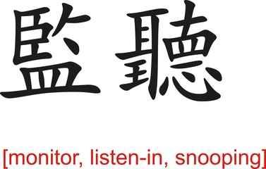 Chinese Sign for monitor, listen-in, snooping