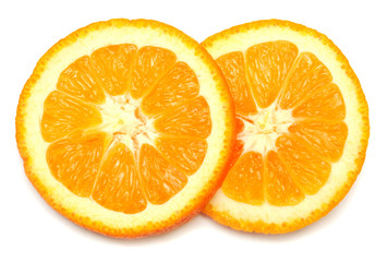 Two oranges sliced rings