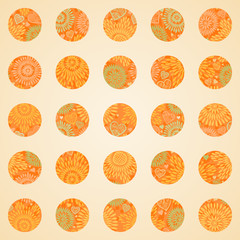 Autumn concept seamless pattern of circles.