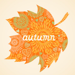 Autumn background in the form of a maple leaf.