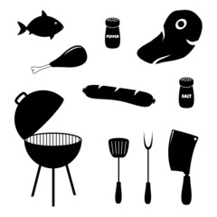 Set of barbecue related icons, food, grill and tools