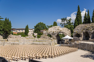 Nice, France. The ruins of the Roman amphitheater (I - II c.)