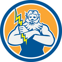Zeus Greek God Arms Cross Thunderbolt Circle Retro