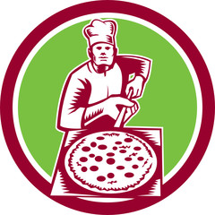 Pizza Maker Holding Pizza Peel Circle Woodcut